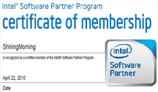 ShiningMorning - certified member of Intel software partner
