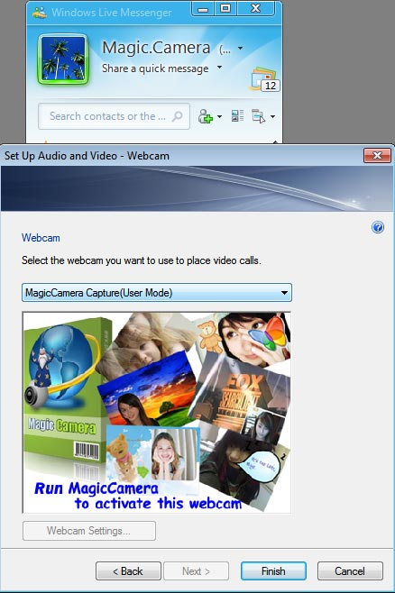 Configure Magic Camera on live messenger webcam step2