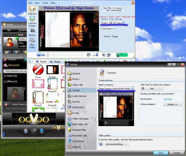 Howto configure Magic Camera virtual webcam on ooVoo