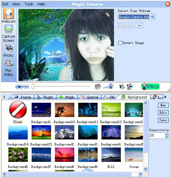 change webcam backgrounds by MagicCamera