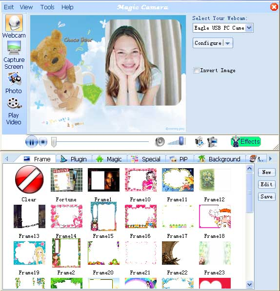 add webcam photo frames by MagicCamera